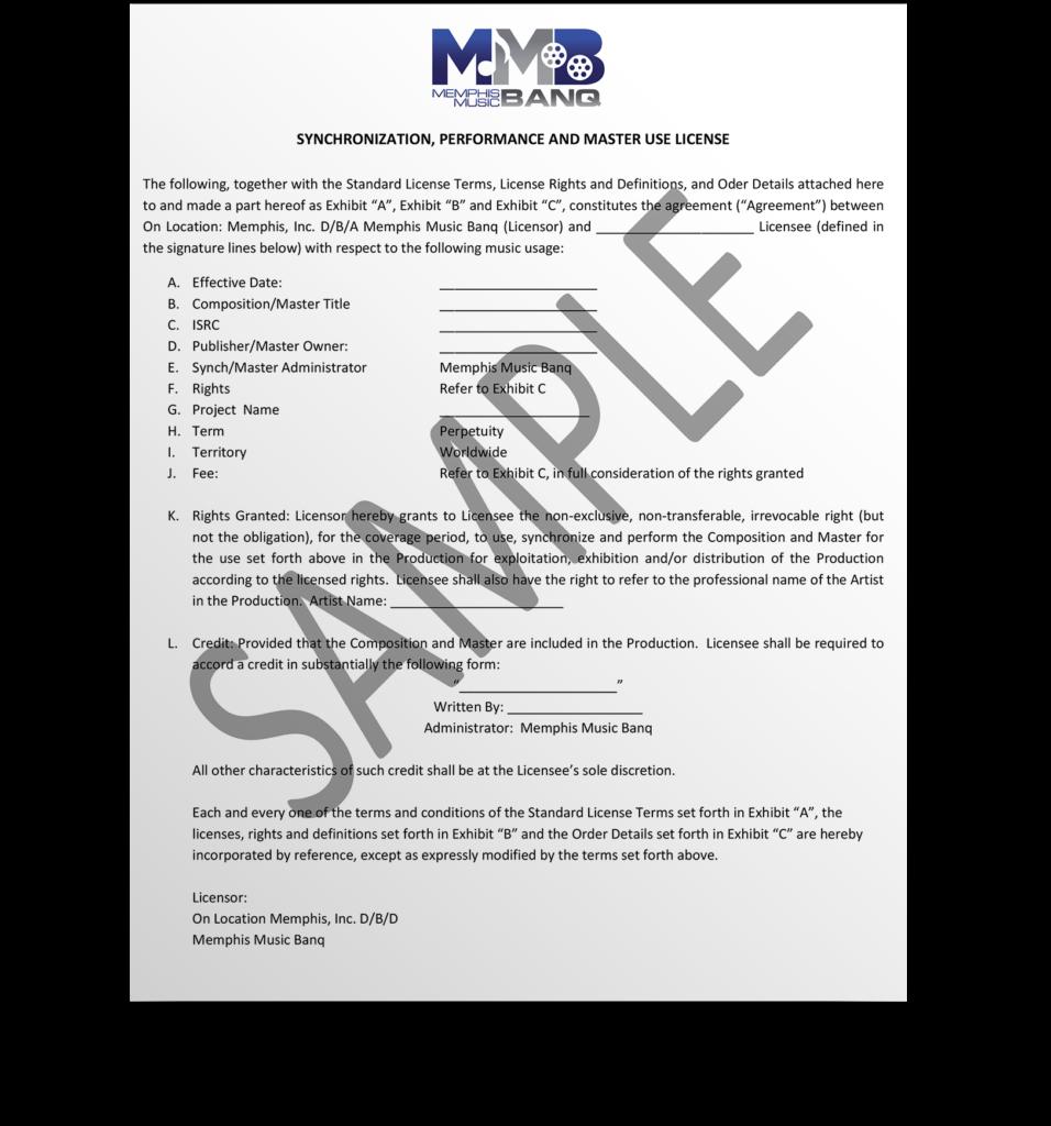 Memphis Music Banq | Sample License Agreement